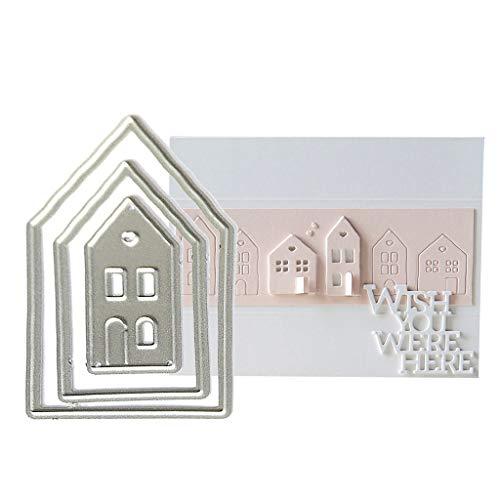 Qintaiourty Stanzschablone, Weihnachten Haus Metall Stanzformen Schablone Scrapbooking DIY Album Stempel Papier Karte Prägung