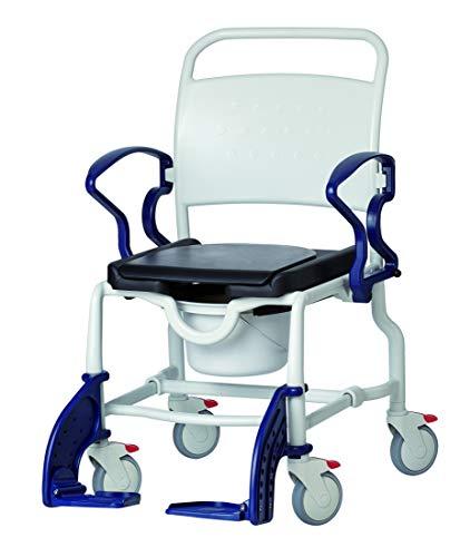 FabaCare Dusch- Toilettenrollstuhl New York, bis 150 kg, made in Germany, Premium Toilettenstuhl, Duschstuhl fahrbar, Rollstuhl mit WC Eimer, Grau-Blau