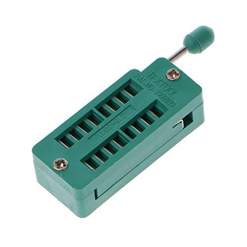 JOYKK 16P Pin 2.54MM Dip Test ZIF IC Tipo de Soldadura de zócalo Universal - Verde