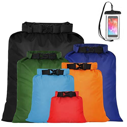 Heyu-Lotus 7 Pack WaterProof Dry Bags, MulticolorLightweight Dry Sacks WaterProof Floating Bags Ultimate Dry Sack for Kayaking Camping Hiking Traveling Boating Water Sports (multi)