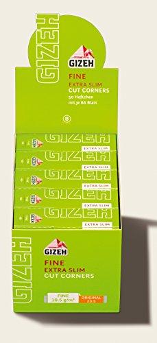 Gizeh Fine Extra Slim Zigarettenpapier Papers Cut Corners 100x Heftchen/Booklets (2 Boxen)