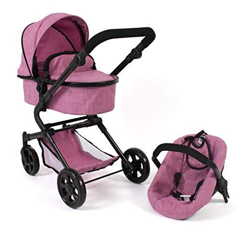 Bayer Chic 2000 597 70 3-in1 Kombi Lia, Puppenwagen-Set mit Autositz, Babywanne und Sportsitz, Jeans pink