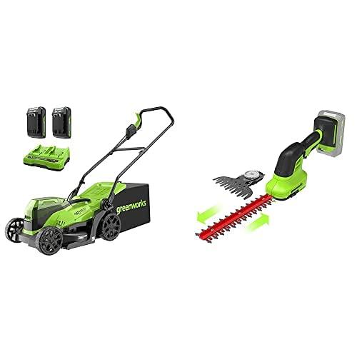 Greenworks Tools 2513407UC Cortacésped, 48V + 2 en 1 Tijeras de Batería para arbustos y césped G24SHT, Li-Ion 24V 2400 SPM 8 mm Espesor y 20 cm Corte adecuado para cortasetos