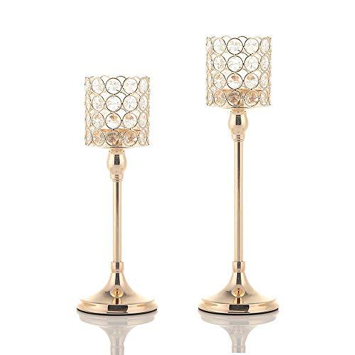 VINCIGANT Candeleros de Cristal Portavelas de Columna de Oro para Decoración del Hogar, Centros de Mesa, Decoración navideña Juego de 2