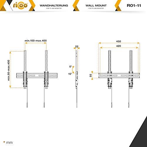 RICOO TV Wandhalterung R01-11 Flache Plasma LCD LED Wandhalter für Fernseher mit 66 – 165cm (26 – 65″) VESA / Lochabstand max. 400×400 universell passend fuer alle TV-Hersteller *** Wandabstand nur 28 mm *** Ultra Flache Ausführung *** 0/+15° neigbar *** - 7