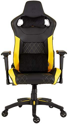 Corsair T1 Race Silla de Oficina, para Videojuegos, Polipiel, fácil de ensamblar, giratoria ergonómica, Altura Ajustable y reposabrazos 4D, Asiento cómodo y reclinable, Negro y Amarillo