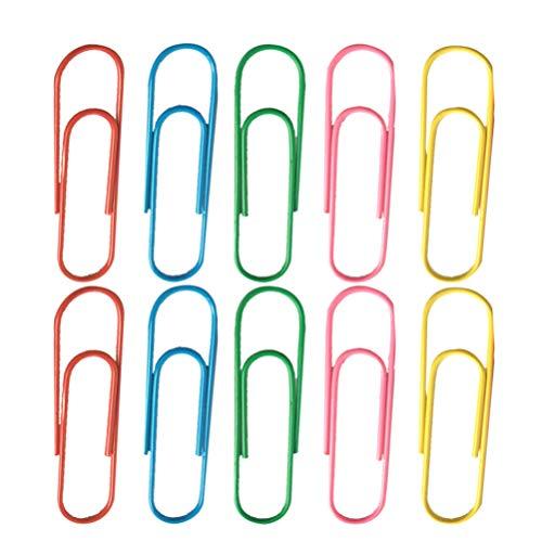 NUOBESTY - Confezione da 50 graffette per carta, segnalibro, accessori per ufficio, 100 mm (colore casuale)