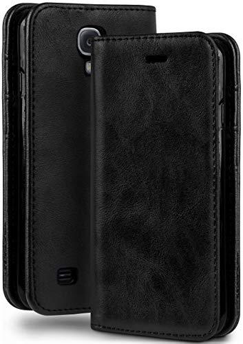 moex Booklet in Lederoptik - Kartenfächer und Aufstellfunktion kompatibel mit Samsung Galaxy S4 Mini | Eleganter 360 Grad Vollschutz, Schwarz