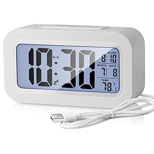 Reloj Despertador Digital Junto a la Cama, despertadores con Temperatura, repetición, Pantalla LCD Grande de dígitos, Cargador USB, Sensor de Brillo y sin tictac, para el hogar y la Oficina