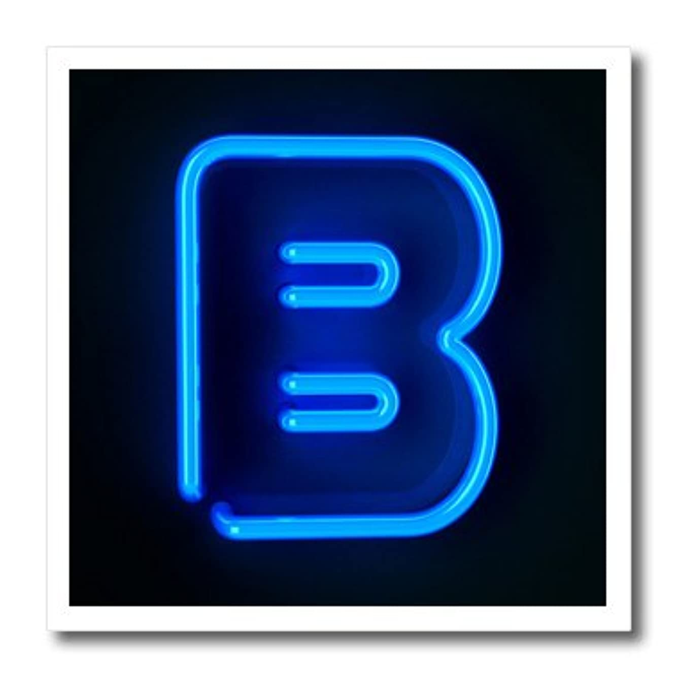 3dRose ht_155122_3 Monogram Letter B Abstract Neon Blue Lit Shining Illuminated Iron on Heat Transfer Paper for White Material, 10 by 10-Inch