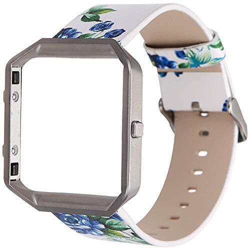 LUONE Reemplazo Muñequera, Impreso Estilo Pastoral Reloj Pulsera de Compatible con Fitbit Blaze Correa de Reloj del Reloj Inteligente Pequeño Floral Deporte Correas de Reloj,F