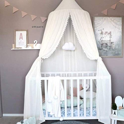 LOAOL Kids Bed Canopy with Lace Hanging Mosquito Net for Baby Crib Nook Castle Game Tent Nursery Play Room Decor (White)
