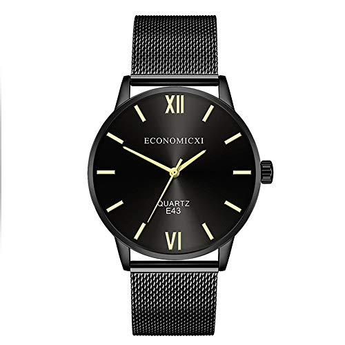 SSLA Los Hombres del Reloj del Metal de Malla de Acero Correa de la Pulsera del Abrigo de Cuarzo Amarillo del Reloj de los números Romanos de Negocios Vestido Reloj E43 (Color : Blue)
