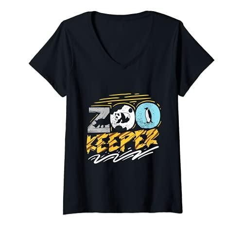Mujer Cuidador De Animales Africano Sabana Cuidador Del Zoolgico Camiseta Cuello V