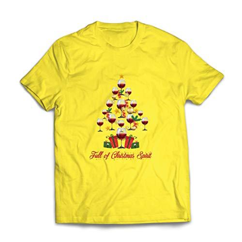 lepni.me Männer T-Shirt Voller Weihnachtsgeist Fröhlicher Wein Jahreszeit Feiertag Cheerleader (Medium Gelb Mehrfarben)