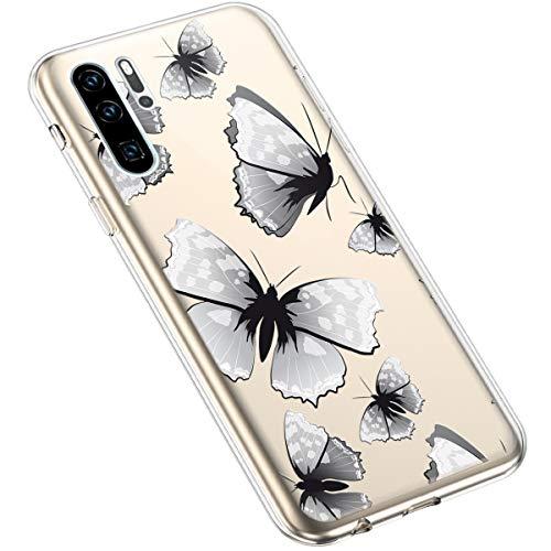 Uposao Compatibile con Huawei P30 Pro Luminoso Fiore Floreale Modello Design Molle TPU Gel Silicone Protettivo Skin Custodia Shell Case Cover per Ragazza,Farfalla nera
