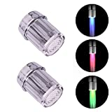 2Pcs 3-Color Temperature Sensitive Gradient LED Water Faucet Light Water Stream Color Changing Faucet Tap Sink Faucet for Kitchen and Bathroom