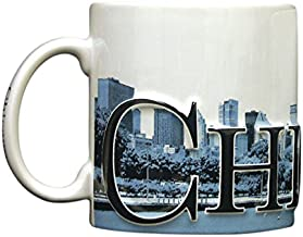 Americaware Chicago Duo Color Relief 18oz City Skyline Mug. 6 Inches Long By 4.25 Inches Tall By 4 Inches in Diameter