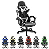 Soontrans White Gaming Chair,Ergonomic Gamer Chair,Racing Game Chair,PC Computer Chair with High-Back,Adjustable Headrest and Lumbar Support (Polar White)