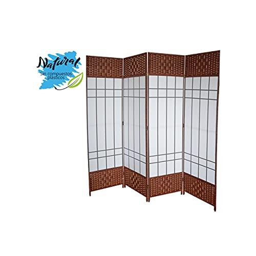 Biombo Separador de Ambientes Grande, Bambú Natural y Papel Trenzado Sakura, para Dormitorio 180 x 200 cm - Hogar y más