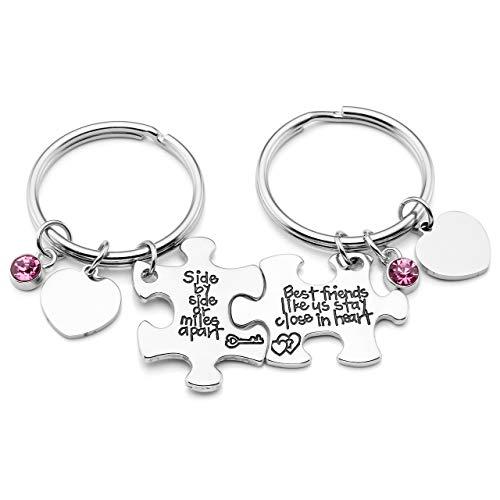 JOVIVI Puzzle Schlüsselanhänger mit Gravur Paar Schlüsselringe mit Herz Scheibe Freundschafts für 2 Geschenke