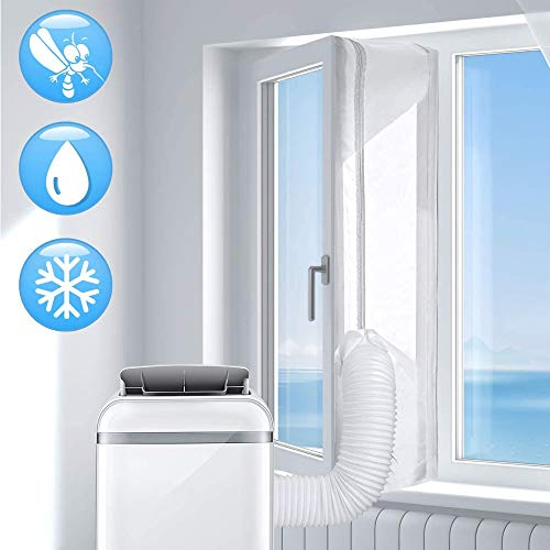 JRing 400cm Joint de Fenêtre en Tissu Avec Fermeture éclair Double et Velcro Sans Percer Parfait pour Climatisation Mobile climatiseur Portable Sèche Linge déshumidificateurs Blanc