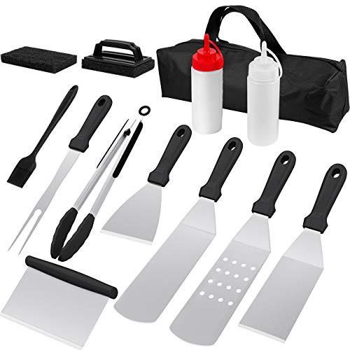 GRUTTI Grillspachtel Grillbesteck Set aus Edelstahl, 13 Stück Grillwender BBQ Werkzeugset Edelstahl Grillen im Freien, Teppanyaki und Camping