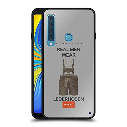 Head Case Designs Offizielle Emoji® Lederhosen Oktoberfest Schwarze Hybride Glas Rueckseiten Huelle kompatibel mit Samsung Galaxy A9 (2018) / A9s