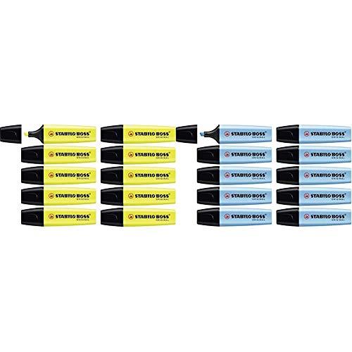 Marcador fluorescente STABILO BOSS Original - Caja con 10 unidades - Color amarillo + fluorescente - Caja con 10 unidades - Color azul