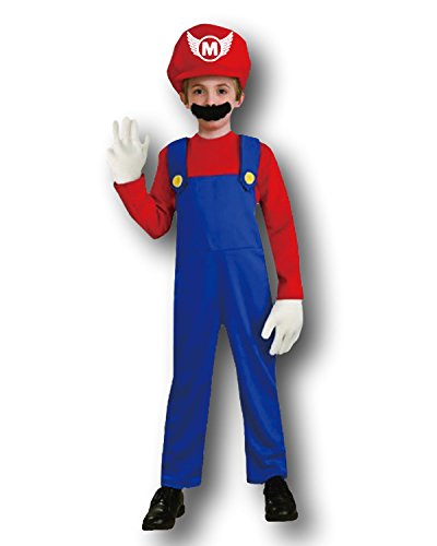 Mario Bros Mario Style Costume Plumbers Mate Fancy Dress Party, Adult and Kids by Rubber Johnnies TM