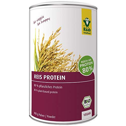 Raab Vitalfood Bio Reis-Protein Pulver mit 80 {821daf9c9ac4a339fa3ee09faa682f3839d681789966e12cd20a0ea59df7f32d} pflanzlichem Eiweiß, aus biologischem Anbau, vegan, laborgeprüft in Deutschland, für Shakes, 400 g
