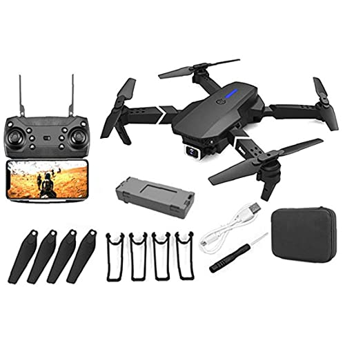 GPS Drone E88 Foldable GPS Drone with 4K Camera for Adults, Quadcopter with Brushless Motor,Carrying Bag, Long Control Range, Live Video Drone RC Quadcopter Aircrafts with 1Battery