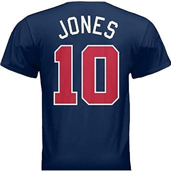 HOFSM.COM Hall of Fame Sports Memorabilia NWT New Jones #10 Atlanta Blue Custom Baseball T-Shirt Jersey No Logos Men s  2XL