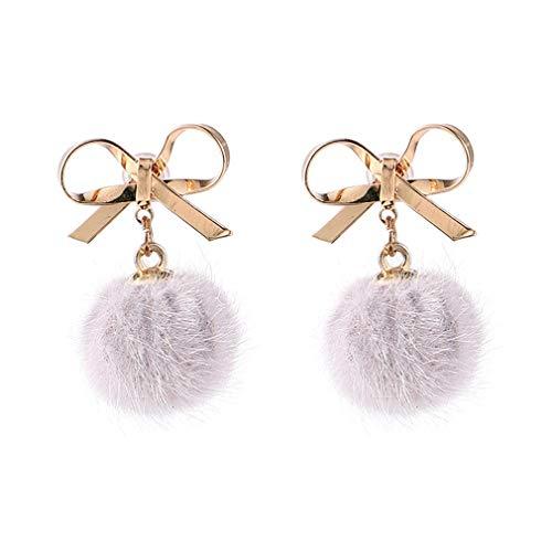 YAZILIND precioso arco Pompón colgante colgante pendientes dulces niñas colgantes oreja joyería regalo de cumpleaños (blanco)