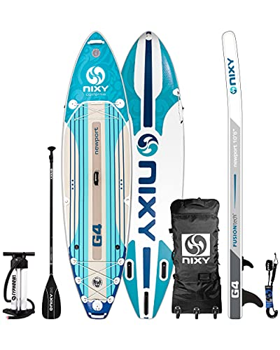 """NIXY Newport Inflatable Stand Up Paddle Board- Premium All Around SUP, Durable & Lightweight 10'6"""" x 33"""" x 6"""" iSUP, Travel Bag, Carbon Hybrid Paddle, Hand Pump, Leash & More"""