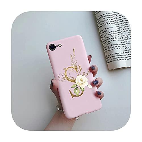 Para el iPhone SE 2020 caso negro mate lindo letras silicona cubierta teléfono caso para iPhone SE 2 2020 SE2 SE2020 Carcasas 4.7 pulgadas cubierta contraporte-rosa-S-para iPhone SE 2020