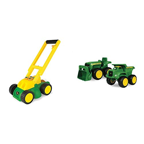 TOMY John Deere Electronic Lawn Mower, Toy for Kids & John Deere Sandbox Vehicle (2 Pack)