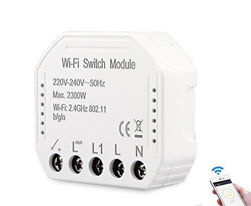 Wifi Mini-Schalter, intelligenter Schalter, Fernbedienung, kabellos, Relais, 1 Kanäle, App, Smartphone, Smartlife, Sprachsteuerung, Alexa Echo und Google Home IFTTT AC 250 V