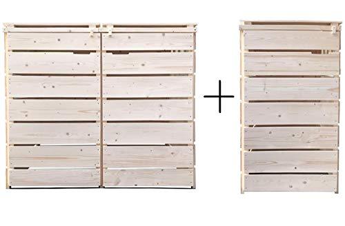 Fairpreis-design Mülltonnenbox Mülltonnenverkleidung 3 Tonnen Holz 120L - 240L Natur inkl. Rückwand vormontiert Müllcontainer Mülltonne Mod.A