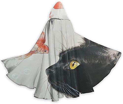 Romance-and-Beauty Halloween Wizard Witch Túnica con Capucha Capa Sudaderas con Capucha de Navidad Cape-Black17-