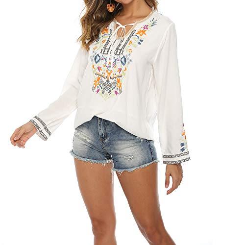 Langarm Top Damen Sexy V-Ausschnitt Stickerei Floral Tunika Boho Shirt Shirt, Weiß, L
