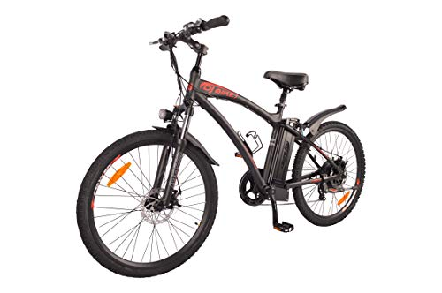 DJ Mountain Bike 500W 48V 13Ah Power Electric Bicycle, Matte Black, LED Bike Light, Fork Suspension and Shimano Gear
