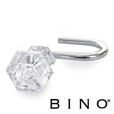 BINO 'Couture' Chrome Shower Curtain Hooks, Set of 12