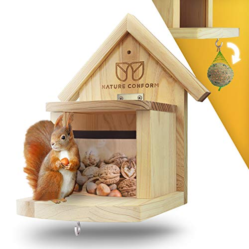 Nature Conform Eichhörnchen Futterhaus Wetterfest | Eichhörnchenhaus [Verbesserte Qualität] Futterstation Eichhörnchen Besonders Sauber Verarbeitet