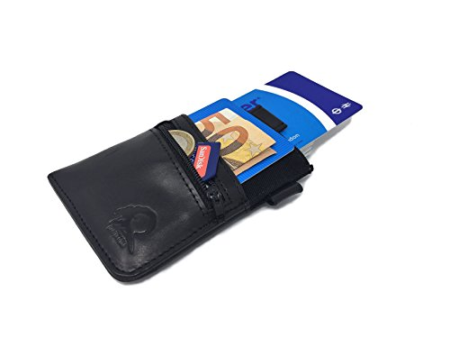 Funda de Piel para Tarjetas de crédito - De la Marca Montcaro - Sexy Dark - con Bloqueo Anti NFC - RFID para Evitar robos - Elegante, Delgada y compacta
