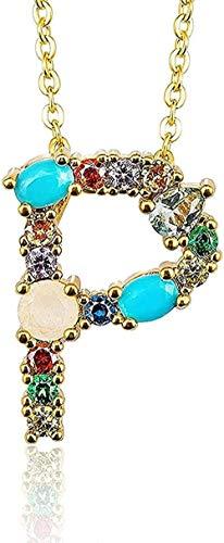 ZJJLWL Co.,ltd Collar Collar de Color Dorado con Colgante Inicial Circón 26 Letras Nombre de Personalidad Accesorios de joyería para Mujeres y Regalo de Novia