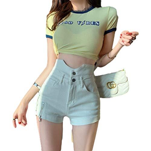 Pantalones Cortos a la Moda de Cintura Alta para Mujer, Costura de Retazos, Color sólido, Ajuste Delgado, Cremallera, decoración, Pantalones Cortos Casuales con Botones Large