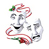 Personalized Theater Masks Christmas Tree Ornament 2020 - Comedy and Tragedy with Red Roses Drama Broadway Show Play Profession Master Hobby Radio Television TV Art Gift Year - Free Customization