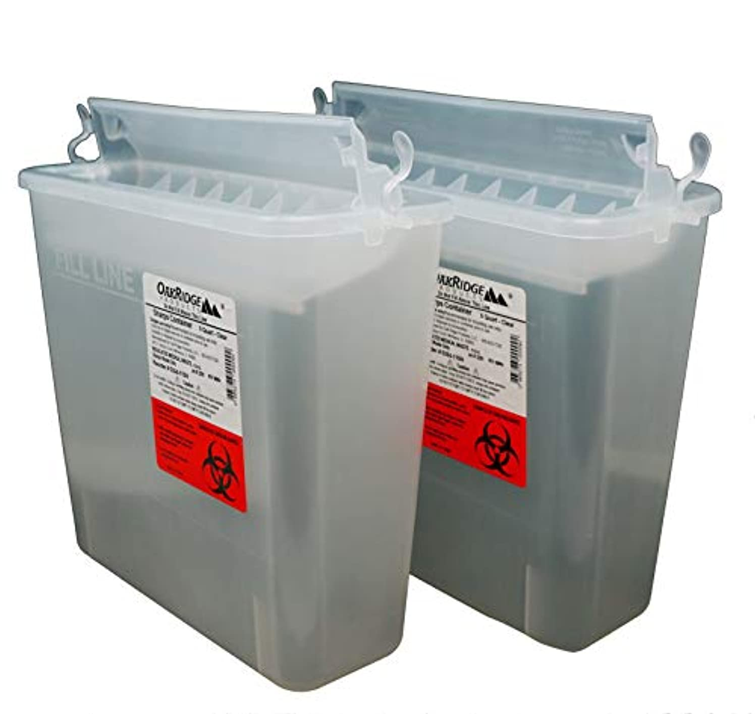 Oakridge Products Sharps Disposal Container for 5 Quart Size with Touchless Disposal (Pack of 2)