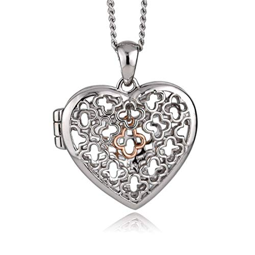 Clogau Womens Sterling Silver Rose and Welsh Gold Tudor Court Heart Dangle Charm Locket
